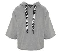 Sweatshirt, Baumwolle, Kapuze, Halbarm