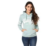 Hoodie, Kapuze, Marken-Print, Label-Streifen, Kängurutasche