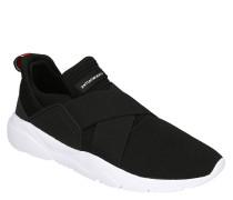 Sneaker, Knit-Optik, überkreuzte Gummibänder, Kontrast-Sohle