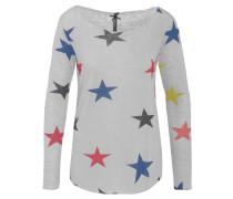 Langarmshirt, Sterne, glitzernder Saum, verlängerter Rücken