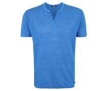 T-Shirt, Leinen, unifarben, Knopfleiste
