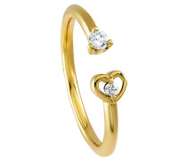 Ring 375 Gelb mit 2 Diamanten, zus. ca. 0,10 ct