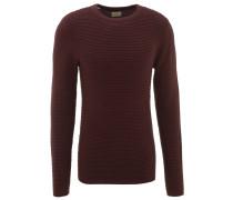 Pullover, uni, Ripp-Struktur, Baumwolle