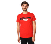 T-Shirt, Baumwolle, Print, Rippblende