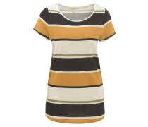 T-Shirt, Rundhalsausschnitt, Allover-Muster, seitliche Schlitze