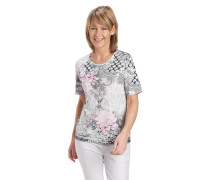 T-Shirt, florales Muster, Baumwolle, Strass