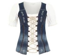 Trachtenbluse, Lochspitze, Jeans-Design