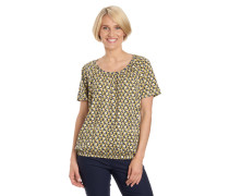 T-Shirt, reine Baumwolle, elastischer Saum, gemustert