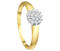 Ring, Diamant, Bicolor,  375, zus. ca. 0.15 ct.