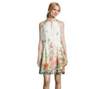 Kleid, ärmellos, Chiffon, Pailletten, floraler Print