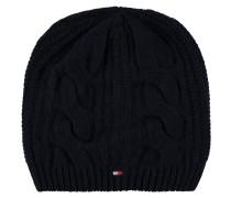 Mütze, Strick, Zopf-Muster, Logo-Stickerei