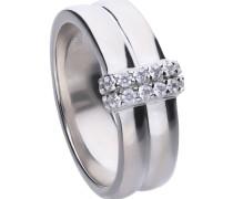 Doppelreihiger Ring  mit weißen -Zirkonia und Pavé-Besatz 6119981082180