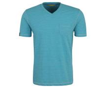 T-Shirt, gestreift, Brusttasche, V-Ausschnitt