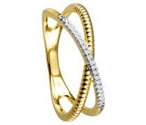 Ring 375 Gelb / tr. mit 17 Diamanten, zus. ca. 0