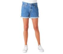 Jeans-Shorts, Baumwolle, Umschlag, mittelhoher Bund