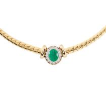Diamant-Collier Gold 585 Smaragd, zus. ca. 0,4 ct