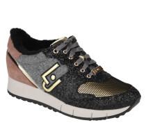 "Sneaker ""Gigi"", Glitzer-Elemente, Fell-Futter, Metallic-Details"