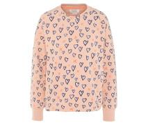 Sweatshirt, Herz-Print, Baumwolle