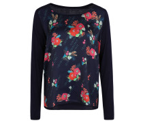 Langarmshirt, Blumen-Muster, verlängerter Saum hinten