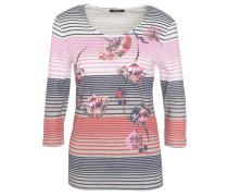Shirt, 3/4-Arm, Baumwolle, gestreift, floraler Print