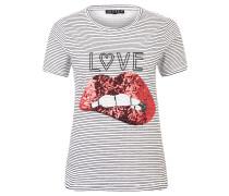 T-Shirt, Baumwolle, Streifen, Pailletten-Mund, Love-Schriftzug