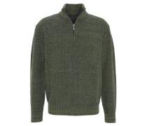 Pullover, Baumwolle, meliert, Klappkragen mit Reißverschluss