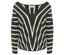 Pullover, Strick, Oversize-Schnitt, Streifen, V-Ausschnitt