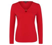 Langarmshirt, V-Ausschnitt, Metall-Detail, Krepp-Jersey