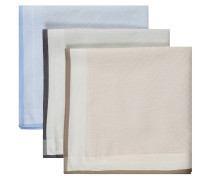 Taschentuch, 3er-Pack, Satinsaum, Baumwolle