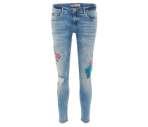 Jeans, florale Patches, Destroyed-Details, Fransensaum, Skinny Fit