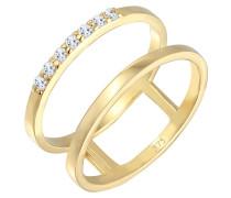 Ring Verlobungsring Doppelring Topas Stein 375 Gelb