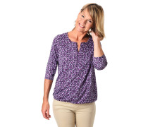 Shirt, 3/4 Arm, Loose Fit, Punkte-Print, Split-Neck