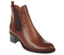 Chelsea Boots, Leder, Blockabsatz, elastischer Saum