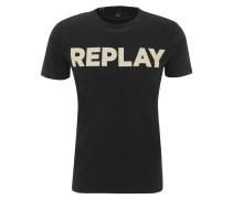 T-Shirt, Rundhalsausschnitt, Marken-Print, Stickerei-Detail