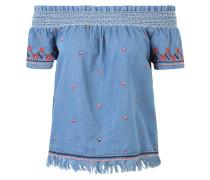 Blusenshirt, Folklore-Stickerei, Off-Shoulder, Fransen