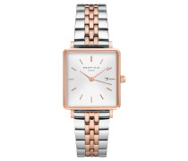 "Damenuhr ""The Boxy"" White Sunray Silver Rosegold Duo QVSRD-Q014"