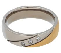 Titan Ring, zweifarbig, Zirkonia-Steine
