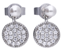 Runde Perl-Ohrringe  mit weißen Muschelkernperlen und Pavé-Besatz 6218531111