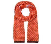Schal, leicht transparent, Print, Zierband