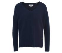 Pullover, V-Ausschnitt, verlängerter Rücken, Kontraststreifen