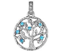 Anhänger, Lebensbaum , 6 Zirkonia, Aqua