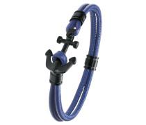 Herren Leder-Armband blau Anker