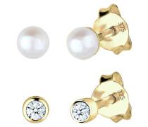 Ohrringe Diamant Süßwasserzuchtperle Basic 375 Gelbgold