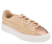 "Sneaker ""Suede Platform LunaLux"", Veloursleder, Metallic-Detail"