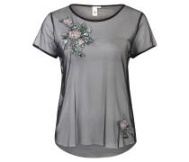 T-Shirt, Mesh, florale Stickerei, transparent