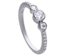 Verspielter Ring  mit weißen Zirkonia-Steinen und Zargenfassung 6120621082180