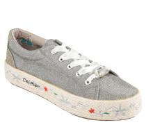 "Sneaker ""Argento"", Glitzer, Plateau, Stickerei"