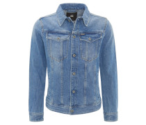 Jeansjacke, gerader Schnitt, Eingrifftaschen, Waschung