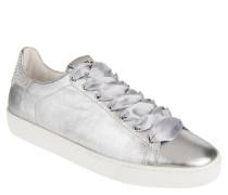 Sneaker, Leder, Strass, Satin-Schnürsenkel, Metallic-Optik
