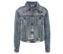 "Jeansjacke ""Jenny Broken"", Destroyed-Look, Stickereien"
